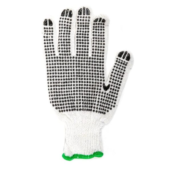 Gloves Knitted Pvc Dots Green (l)