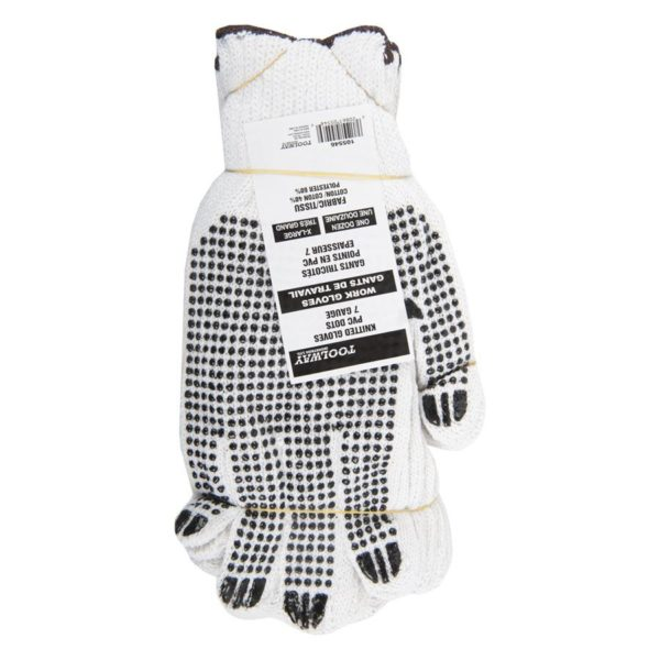 Gloves Knitted Pvc Dots Brown (xl)