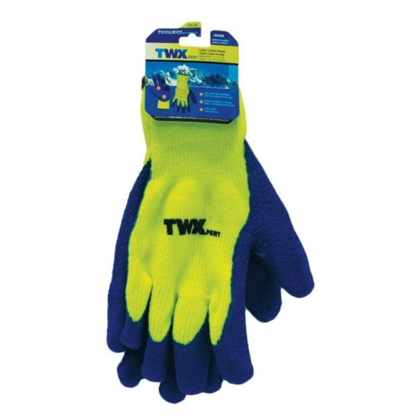 1dz Knitted Acrylic Insulated Gloves Yellow With Latex Palm Blue