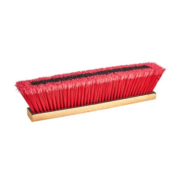 Push Broom 18in With Brace & Handle (red Soft / Black Coarse)