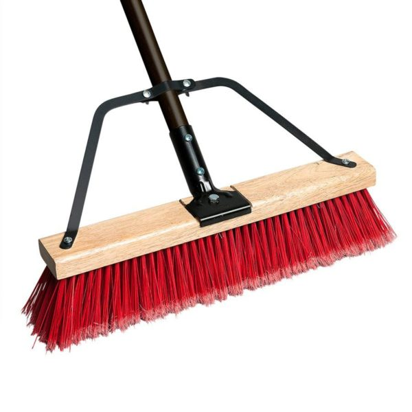 Push Broom 24in With Brace & Handle (red Soft / Black Coarse)