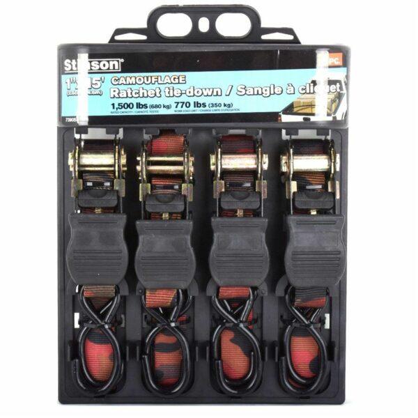 4 Pc Camo Ratchet Tie Down 1in X 15ft - 1500 Lb Bs