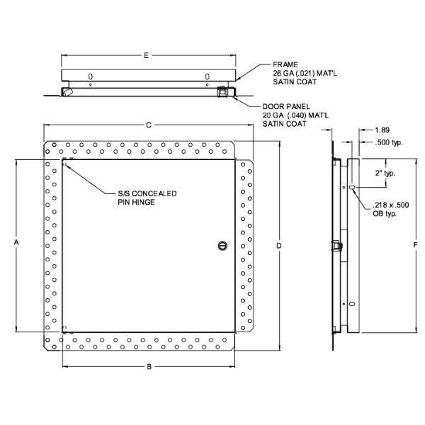 """Flush door with drywall bead  8""""x 8"""" Access Door"""