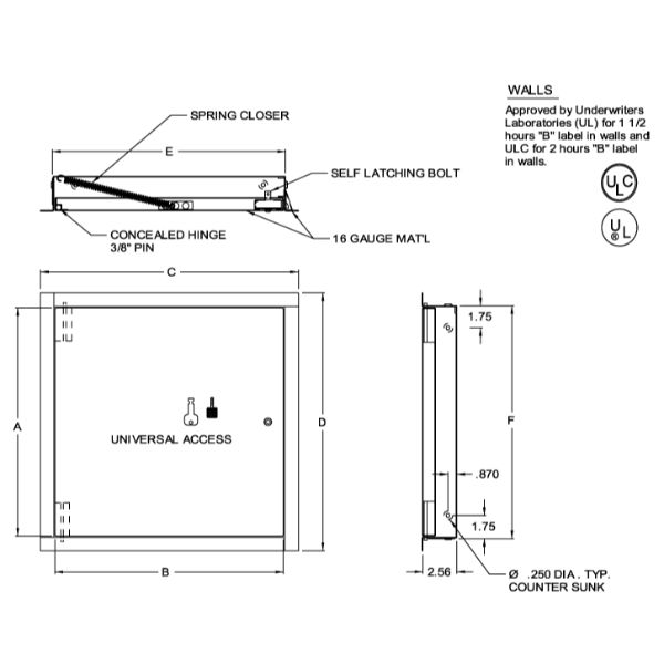 """Fire rated, Uninsulated, wall only  8""""x8"""" Access Door"""