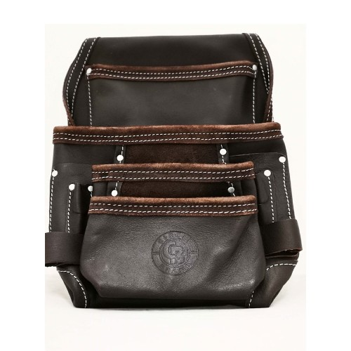 10 Pocket Leather Nail/Tool Bag  w/ Leather Loops