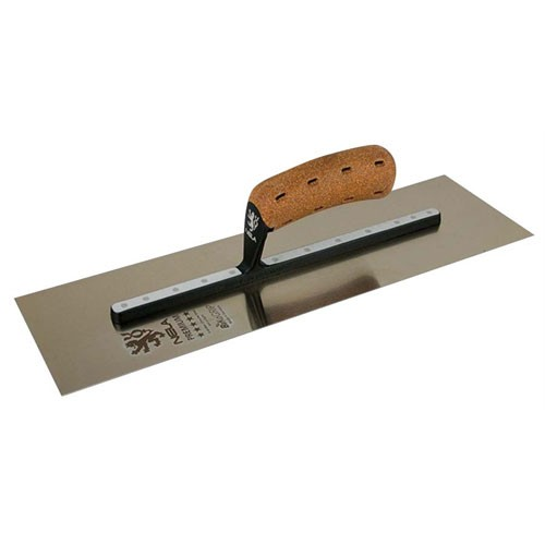 """NELA 11""""x 4.5"""" PREMIUM Chrome Steel Trowel, Stainless, BiKo GRIP® CORK"""