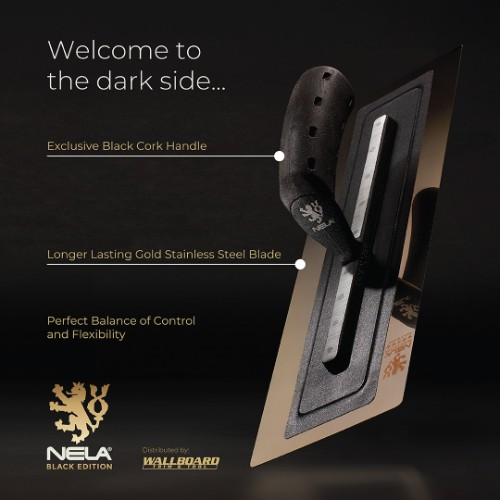"NELA 11""x4.72"" BLACK EDITION Steel Trowel, Stainless, BiKo GRIP® CORK"