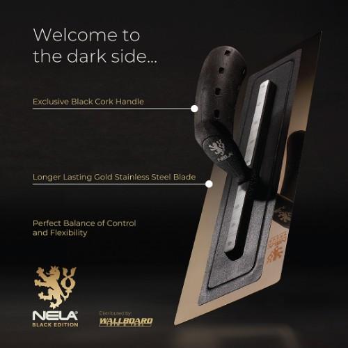 "NELA 18""x4.72"" BLACK EDITION Steel Trowel, Stainless, BiKo GRIP® CORK"