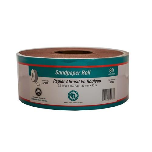 "Sandpaper Roll 3.5"" x 150'  #80 Grit (Paperbacked)"