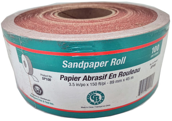 "Sandpaper Roll 3.5"" x 150'  #100 Grit (Paperbacked)"