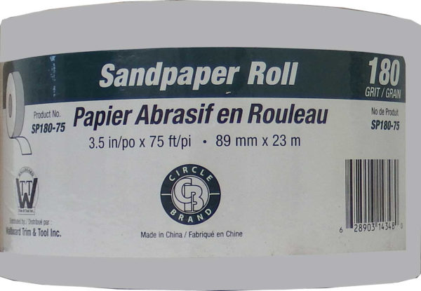 "Sandpaper Roll 3.5"" x 75'  #180 Grit (Paperbacked)"