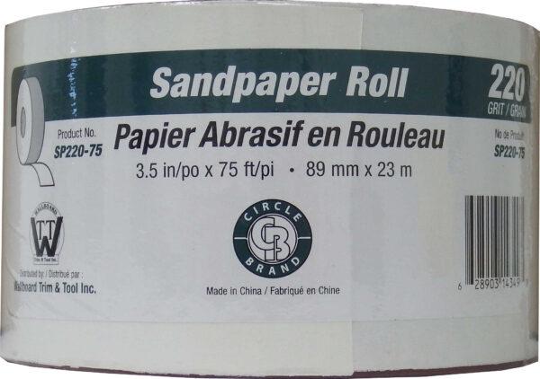 "Sandpaper Roll 3.5"" x 150'  #220 Grit (Paperbacked)"
