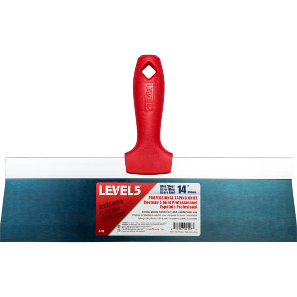 """Level 5 14"""" Blue Steel Taping Knife w/ Composite Handle"""